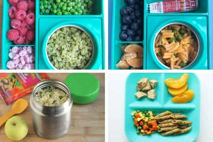 lunch ideas for kids with pasta in grid of 4