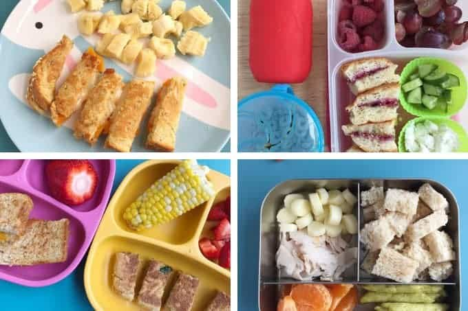 kids lunches with sandwiches in grid of 4