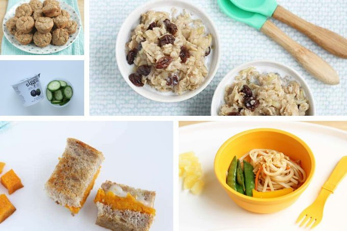 healthy kids meal sample day with 3 meals and 2 snacks