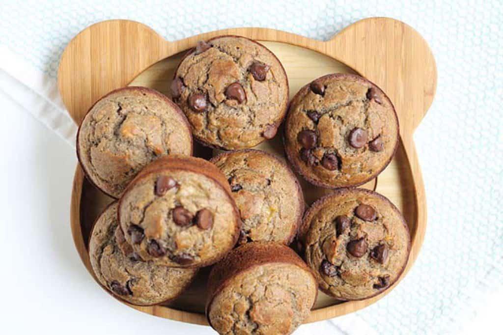 banana chocolate chip muffins on bear plate