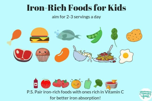 iron rich food for kids chart