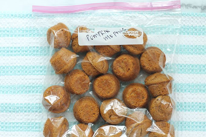pumpkin muffins in storage bag for freezer