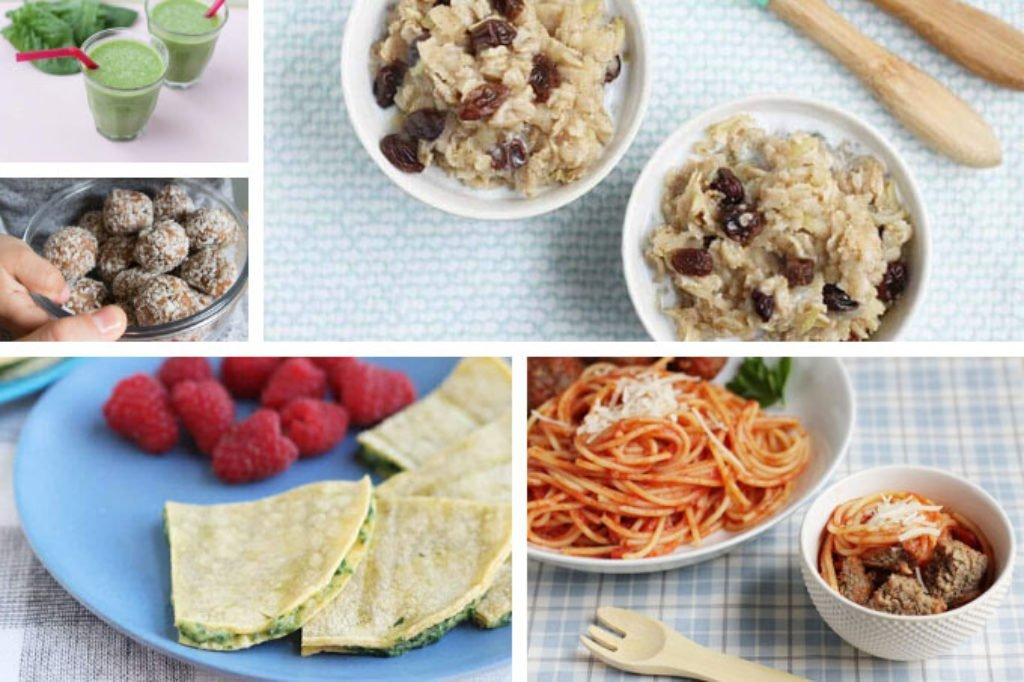 sample day of toddler meals with iron