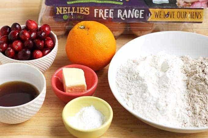 ingredients in cranberry orange bread