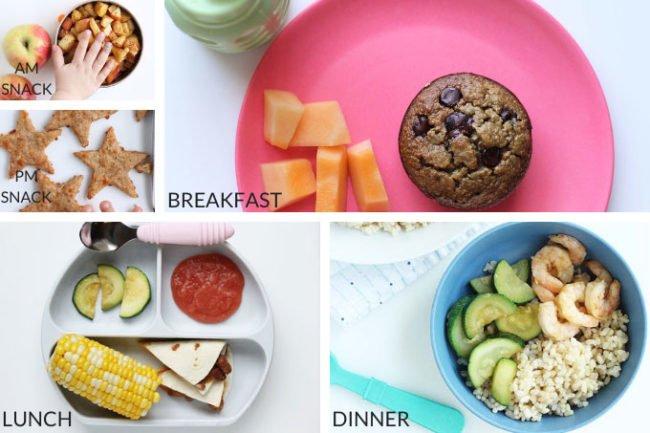 sample toddler meal plan in grid of 5