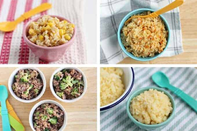 cheesy rice 4 ways with veggies in a grid with kids bowls