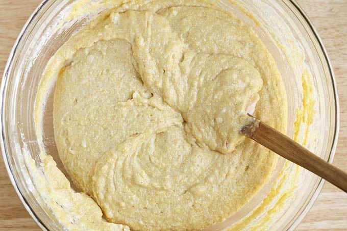 mixing cornbread muffin batter