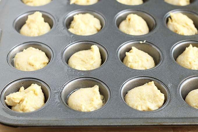 cornbread muffin batter in muffin tin
