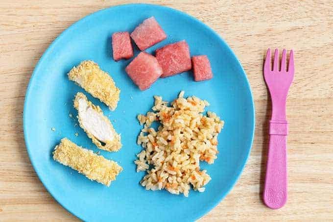 crispy chicken kids meal on blue plate