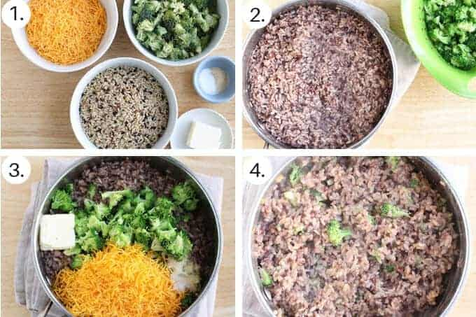 how to make cheesy rice with broccoli step by step