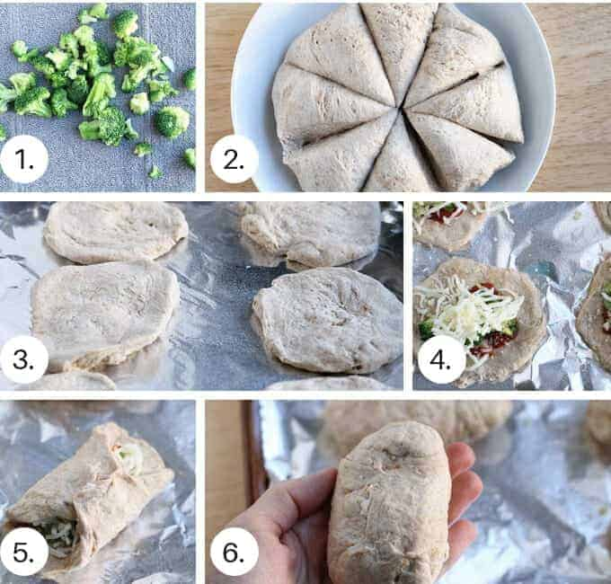 how to make pizza pockets with broccoli and cheese step by step