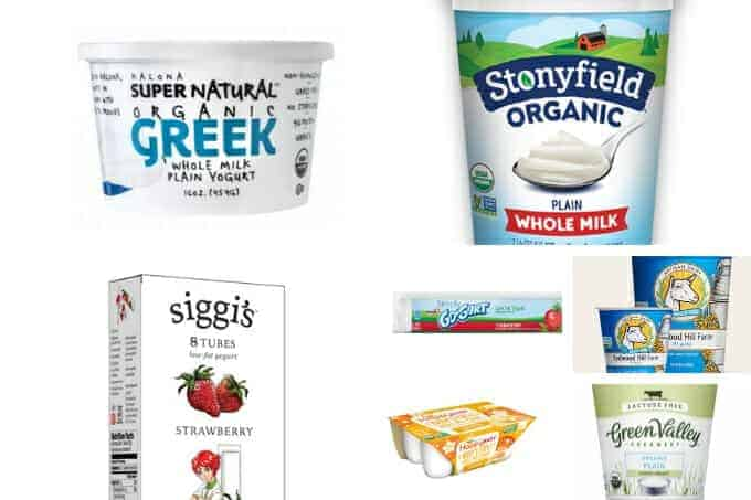 best yogurt for babies and toddlers in packaging from Stoneyfield and Siggis