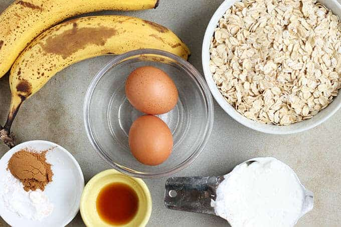 ingredients in banana oatmeal muffins