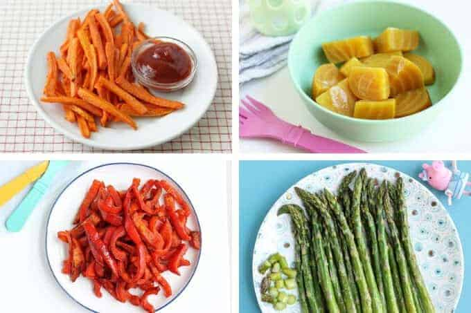 roasted carrots on white plate, yellow beets in bowl, roasted peppers, and roasted asparagus