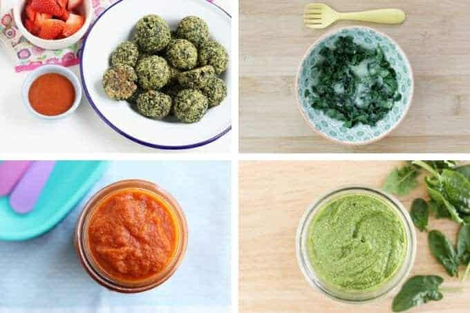 kale bites on white plate, cheesy greens in bowl, marinara sauce in jar, pesto in jar