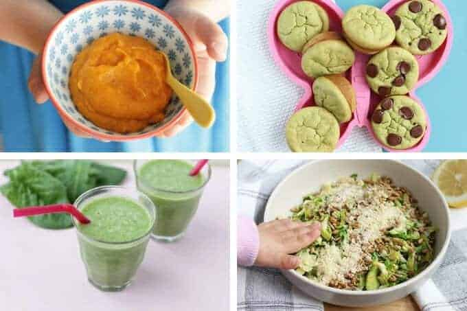 mashed sweet potatoes, spinach muffins, green smoothie, brussels sprouts