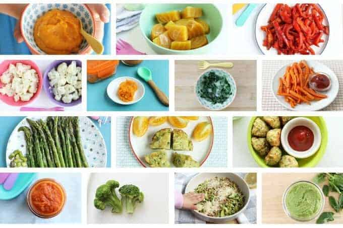 grid of vegetable recipes for kids including mashed sweet potatoes, beets, and asparagus