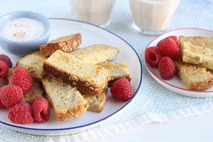 French toast sticks with egg nog