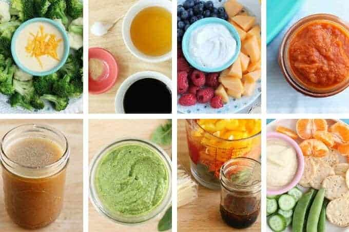 healthy sauces and dips in a grid including spinach peso, cheese sauce, and teriyaki