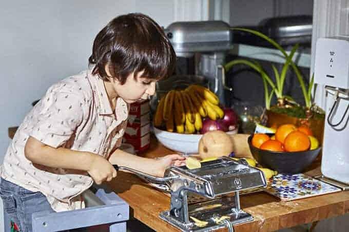 boy making pasta