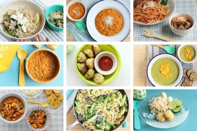 healthy family meals in grid of 9