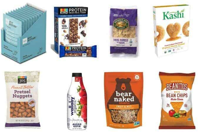 healthy pregnancy snacks to buy including nut butter, granola bars, pretzels