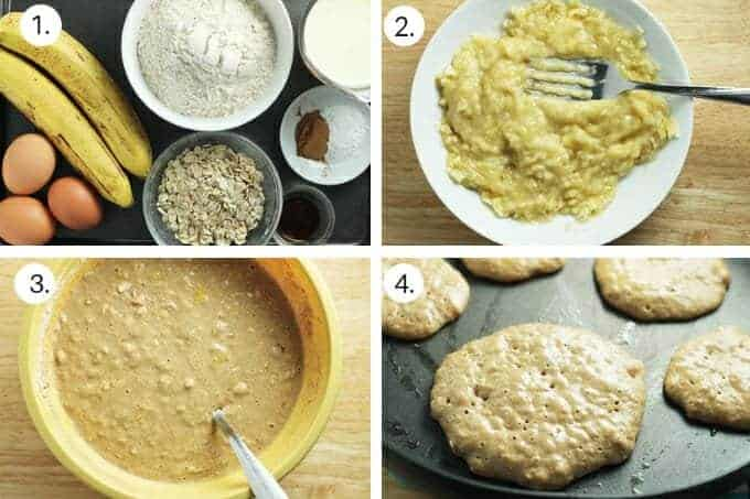 how to make banana oatmeal pancakes step-by-step