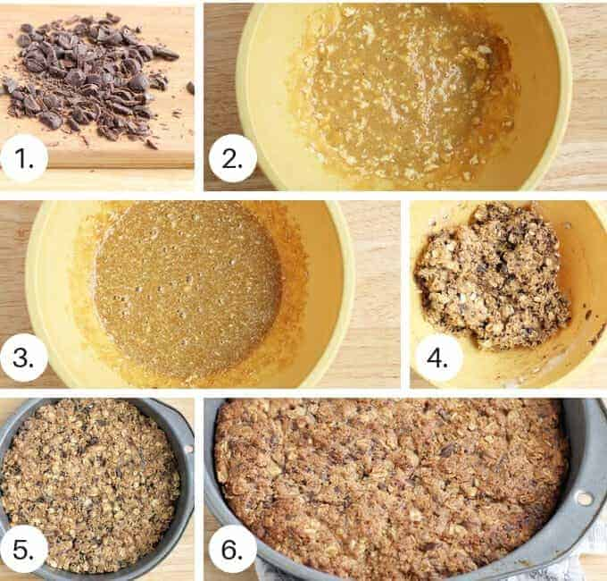 how to make chocolate chip oatmeal cookie cake step by step