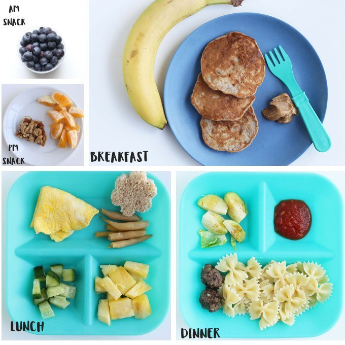 sample toddler meals and snacks in a grid