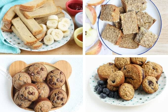 baked french toast, apple bread, banana muffins, and blueberry muffins in a grid