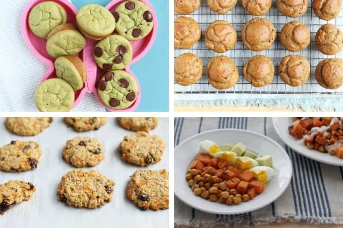 spinach muffins, pumpkin muffins, breakfast cookies, hash in a grid