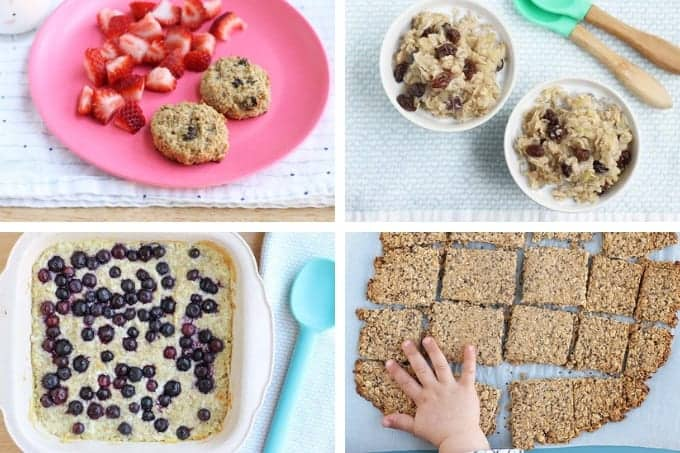 breakfast cookies, oatmeal, baked oatmeal, and granola bars in a grid