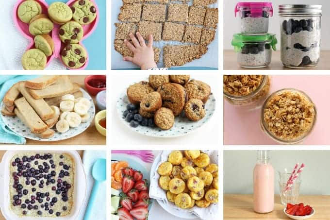 grid of 9 make ahead breakfast ideas including muffins, eggs muffins, and yogurt drink