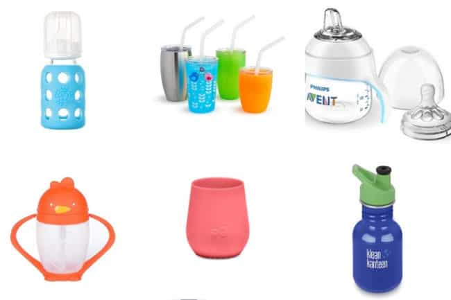 grid of six different kinds of sippy cups for kids