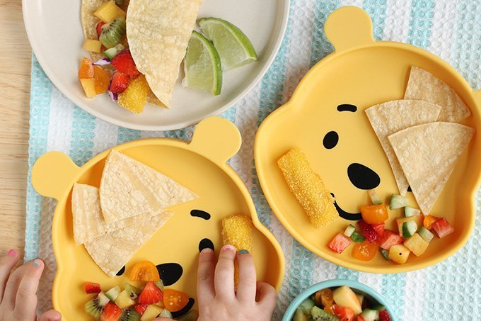 fish stick tacos with fruit salsa on pooh plates