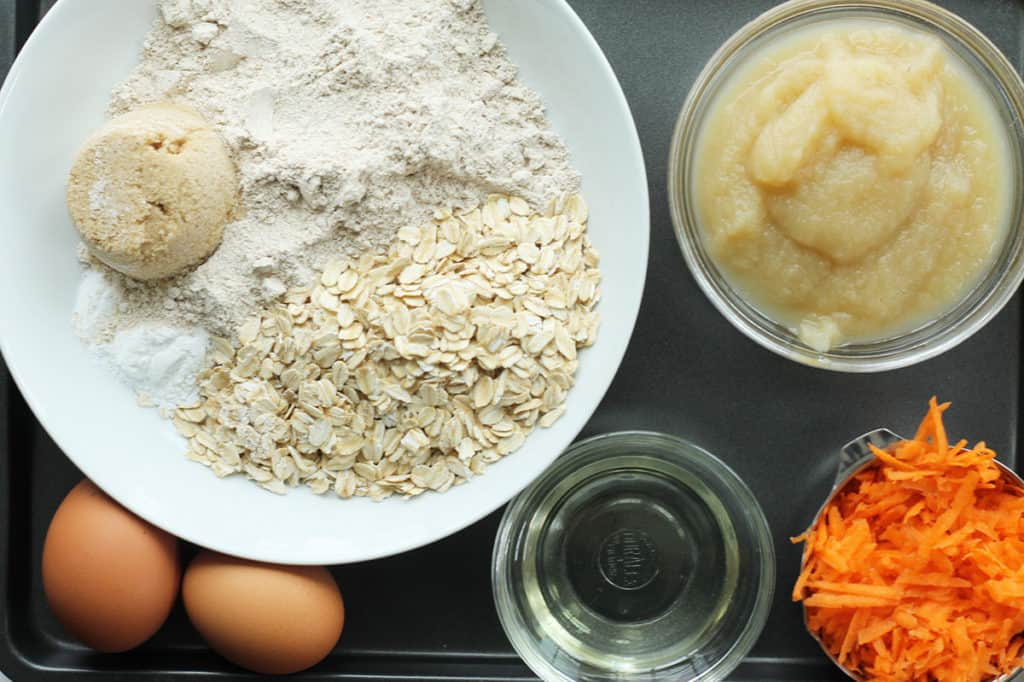 ingredients in carrot cake muffins