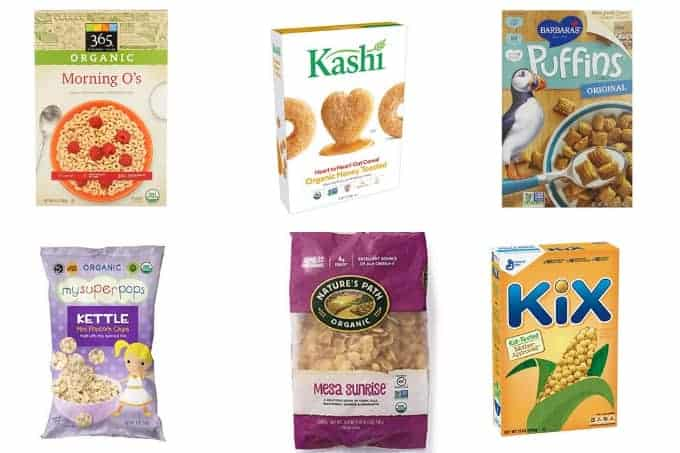 healthy cereals for kids in grid of 6