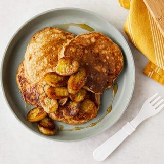 banana-oatmeal-pancakes-on-gray-plate