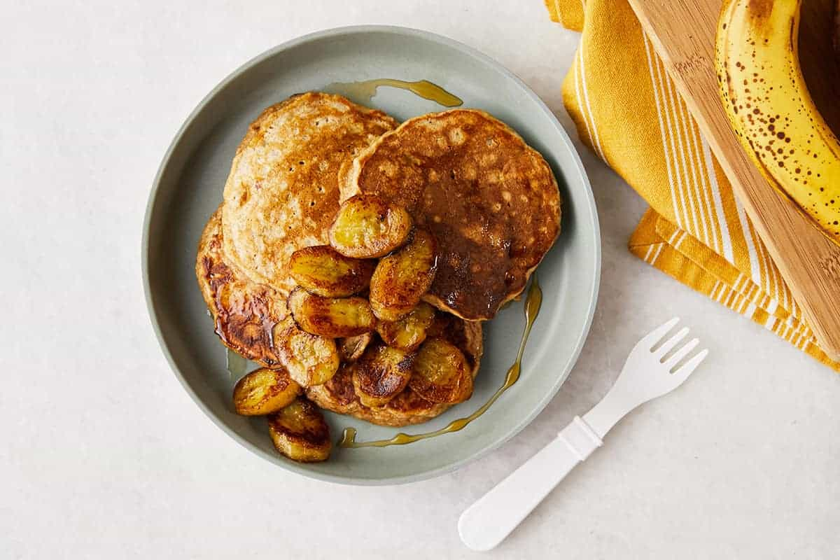 banana-oatmeal-pancakes-on-gray-plate