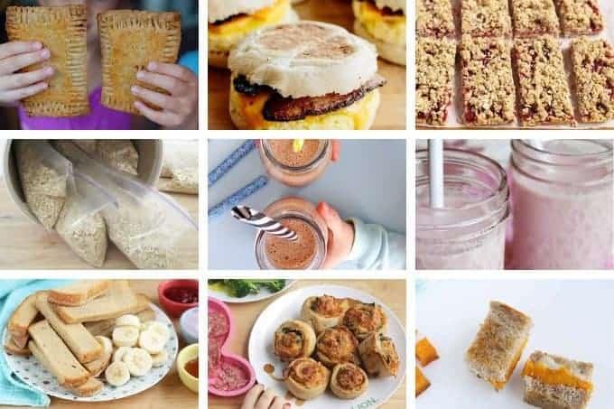kids food breakfast recipes in grid of 9