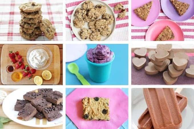 kids food desserts in grid of 9