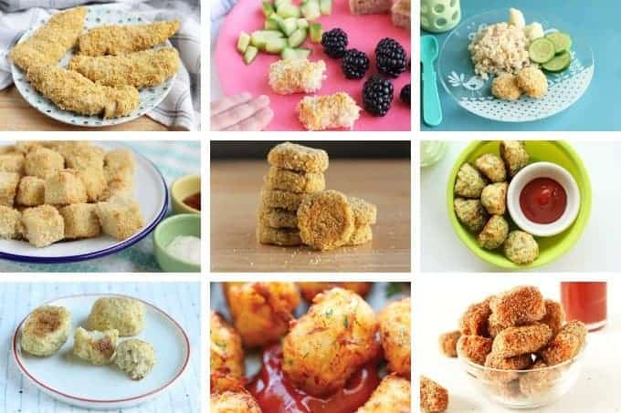 kids food nuggets and tots recipes in grid of 9