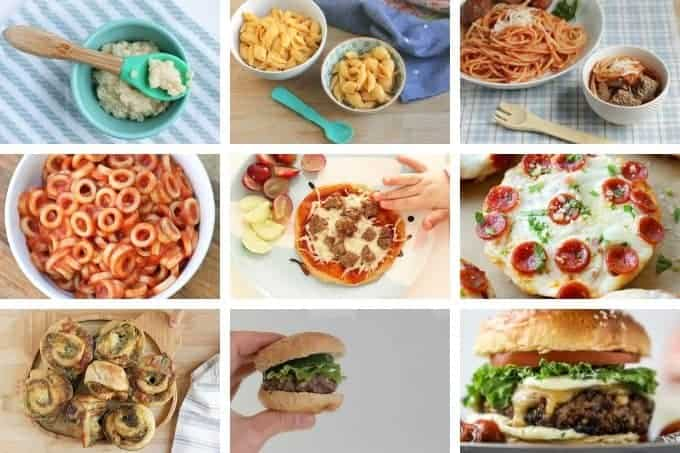 kid food pasta, pizza, and burgers in grid