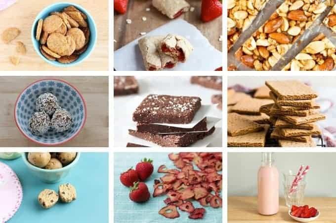 kids food snacks in grid of 9