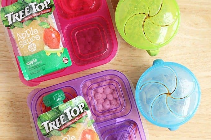 travel food packed in containers for kids