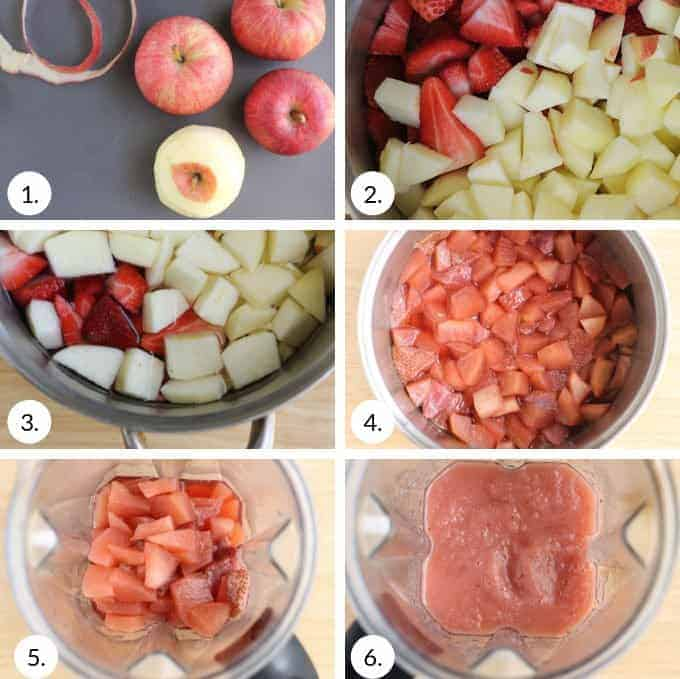 how to make strawberry applesauce step by step