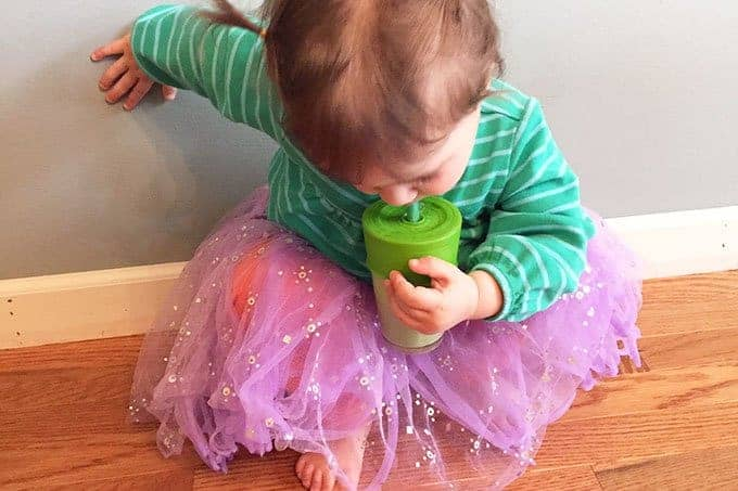 toddler drinking smoothie