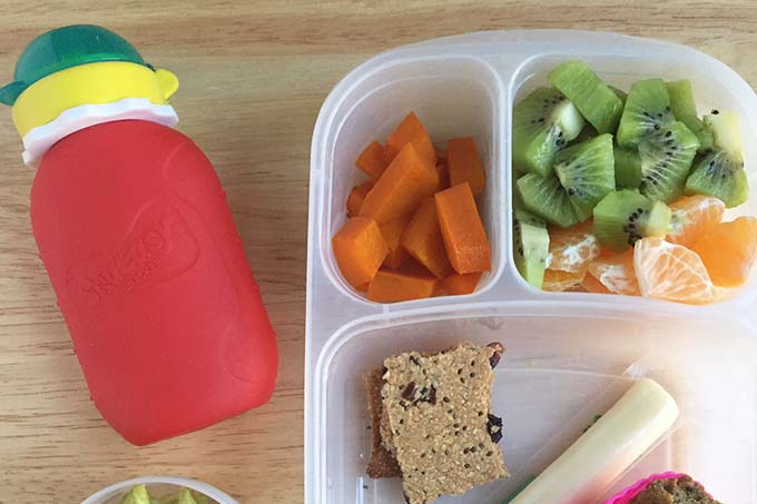 toddler lunch with reusable pouch