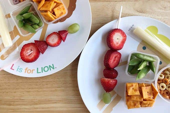 toddler snack plates with berries and cheese