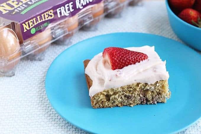 strawberry cake with nellies egg carton